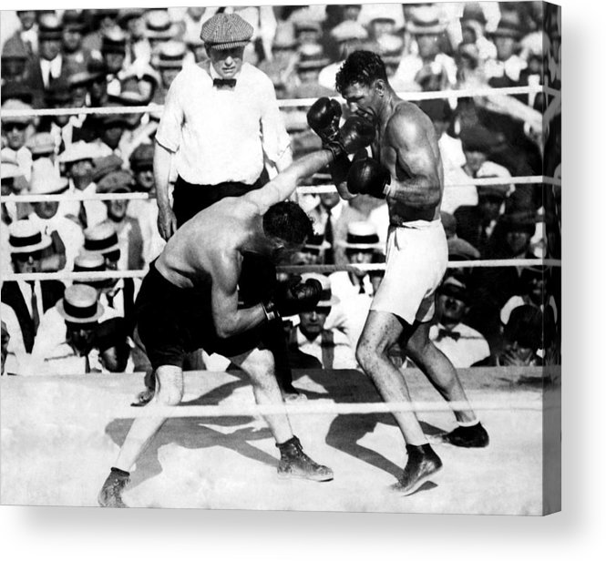 1920s Acrylic Print featuring the photograph Jack Dempsey Fights Tommy Gibbons by Everett