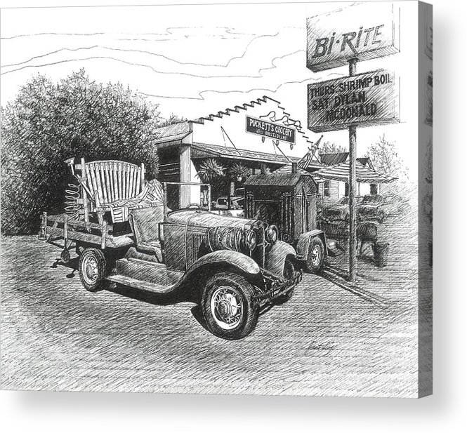 Leipers Fork Acrylic Print featuring the drawing Puckett's Grocery And Restuarant by Janet King