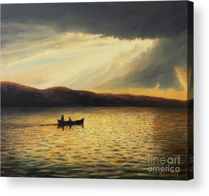 Nature Acrylic Print featuring the painting The Bay Of Silence by Kiril Stanchev