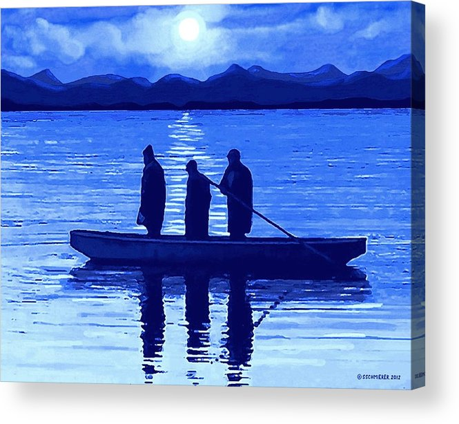 Fishing Acrylic Print featuring the painting The Night Fishermen by SophiaArt Gallery