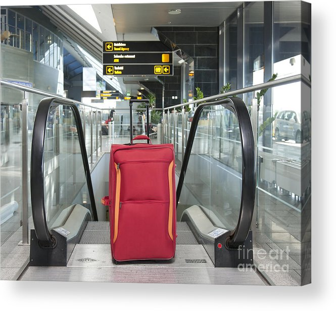 Abandoned Acrylic Print featuring the photograph Luggage At The Top Of An Escalator by Jaak Nilson