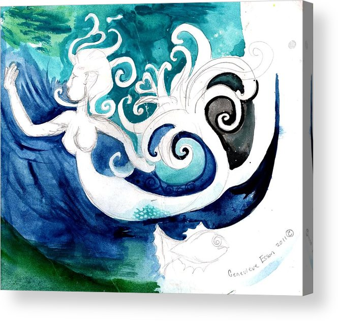 Mermaid Acrylic Print featuring the painting Aqua Mermaid by Genevieve Esson