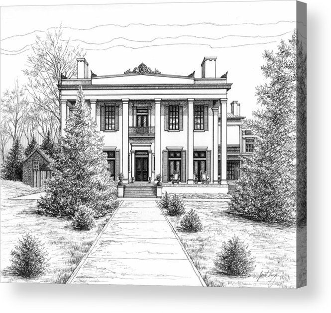 Pen Acrylic Print featuring the drawing Belle Meade Plantation by Janet King