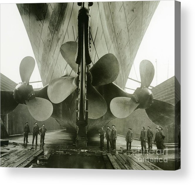 Engineering; Building; Shipyard; Disaster; Sea; Tragedy; Tragic; Transatlantic; Liner; Drydock; Dry Dock; Propeller Acrylic Print featuring the photograph The Titanics Propellers In The Thompson Graving Dock Of Harland And Wolff by English Photographer