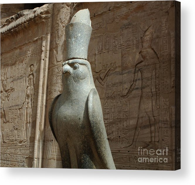 Falcon Acrylic Print featuring the photograph Horus The Falcon At Edfu by Bob Christopher
