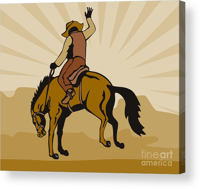 Rodeo Acrylic Print featuring the digital art Rodeo Cowboy Bucking Bronco by Aloysius Patrimonio