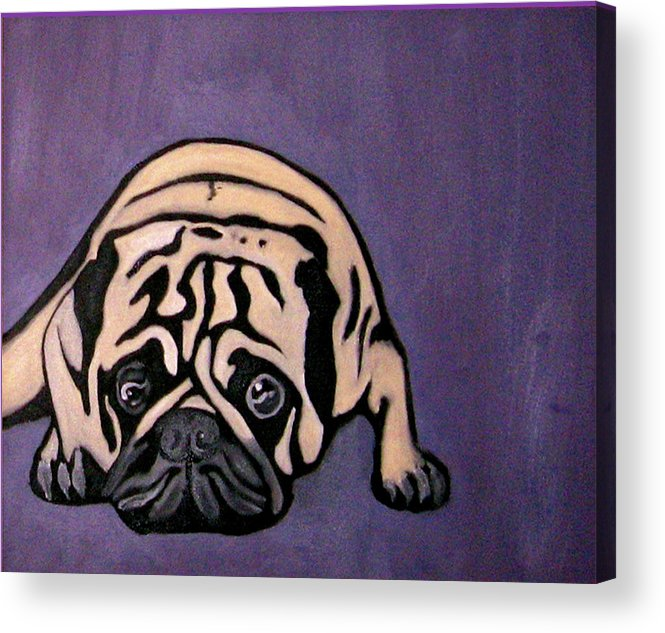 Pug Acrylic Print featuring the painting Purple Pug by Darren Stein
