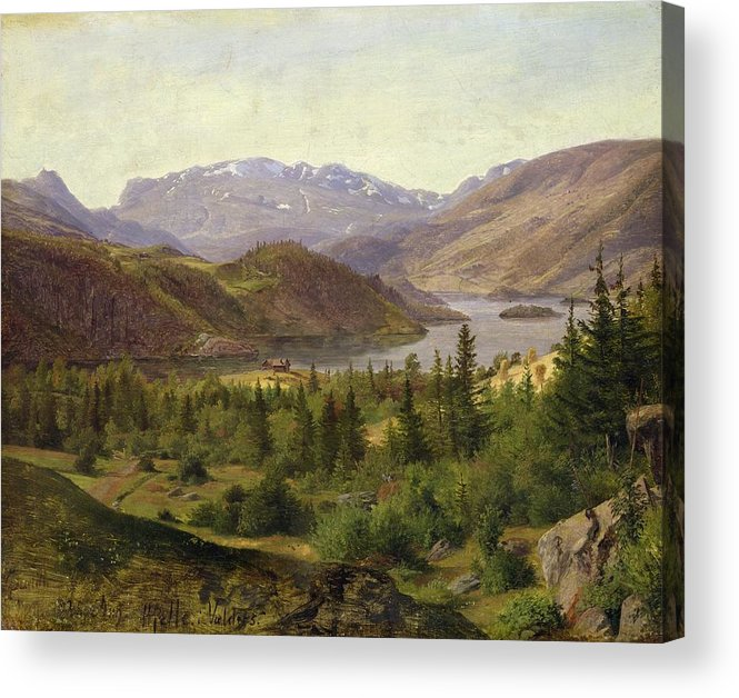 Hjelle Acrylic Print featuring the painting Tile Fjord by Louis Gurlitt