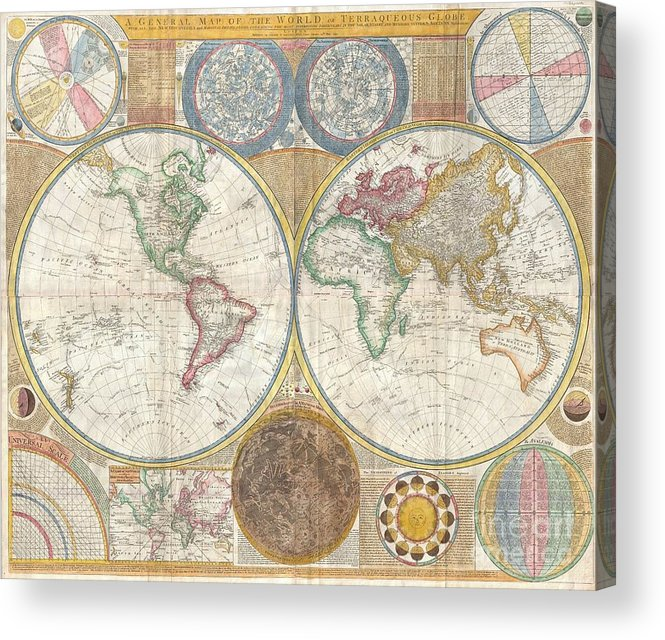 An Absolutely Stunning And Monumental Double Hemisphere Wall Map Of The World By Samuel Dunn Dating To 1794. This Extraordinary Map Is So Large And So Rich In Detail That It Is Exceptionally Challenging To Do It Full Justice In Either Photographic Or Textual Descriptions. Covers The Entire World In A Double Hemisphere Projection. The Primary Map Is Surrounded On All Sides But Detailed Scientific Calculations And Descriptions As Well As Northern And Southern Hemisphere Star Charts Acrylic Print featuring the photograph 1794 Samuel Dunn Wall Map Of The World In Hemispheres by Paul Fearn