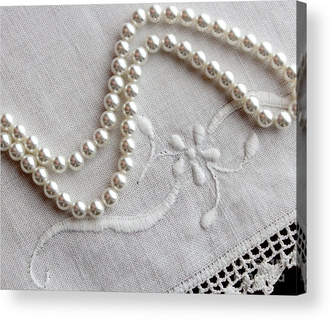 Pearls And Old Linen Acrylic Print featuring the photograph Pearls And Old Linen by Barbara Griffin