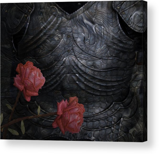 Digital Acrylic Print featuring the painting Strength Of A Rose by Jack Zulli