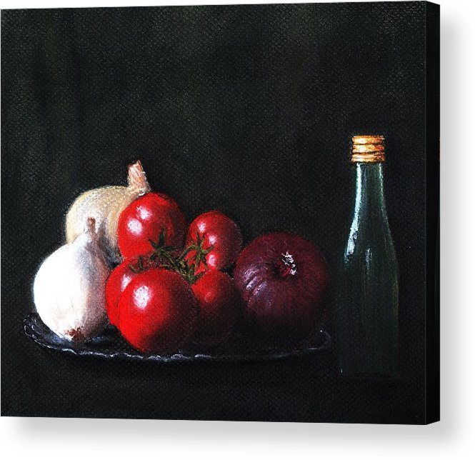 Dish Acrylic Print featuring the painting Tomatoes And Onions by Anastasiya Malakhova