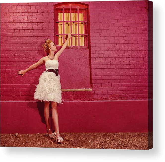 People Acrylic Print featuring the photograph Classy Diva Standing In Front Of Pink Brick Wall by Kriss Russell