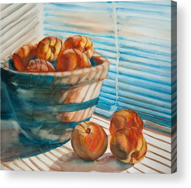 Peaches Acrylic Print featuring the painting Many Blind Peaches by Jani Freimann
