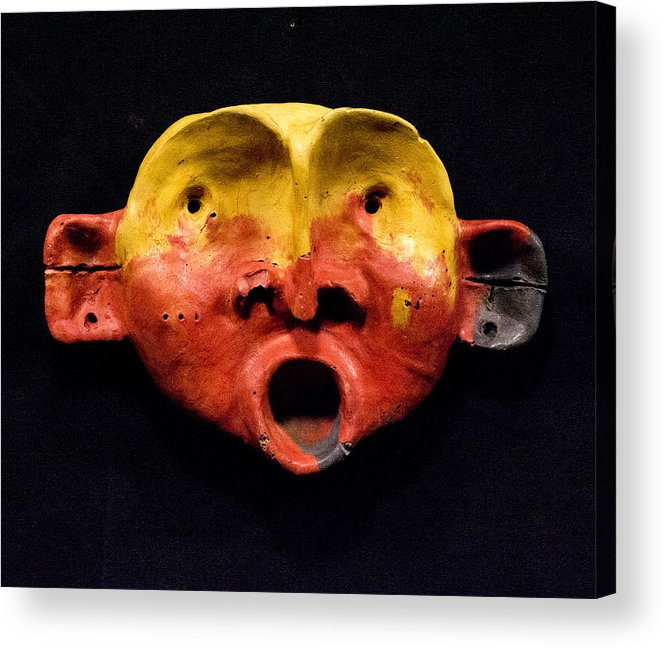Wall Sculpture Acrylic Print featuring the sculpture Nico Yellow And Red Mask by Mark M Mellon