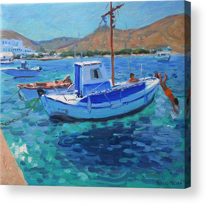 Harbor Acrylic Print featuring the painting The Harbor Tinos by Andrew Macara