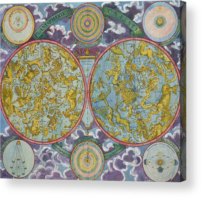 Acrylic Print featuring the drawing Celestial Map Of The Planets by Georg Christoph Eimmart