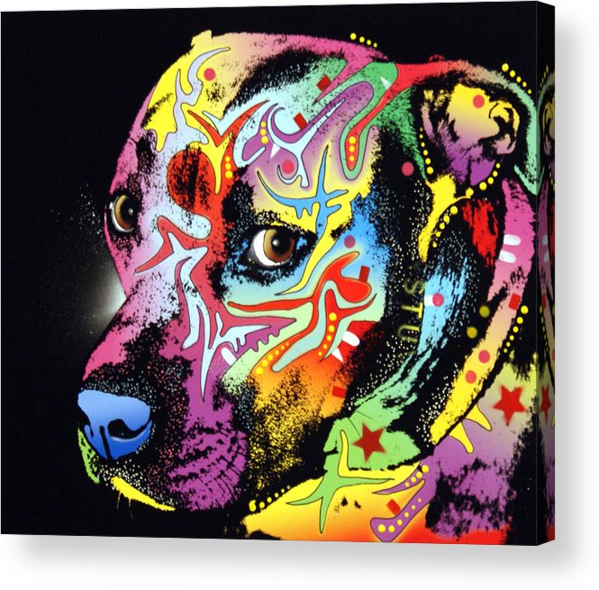 Dog Acrylic Print featuring the painting Gratitude Pit Bull Warrior by Dean Russo