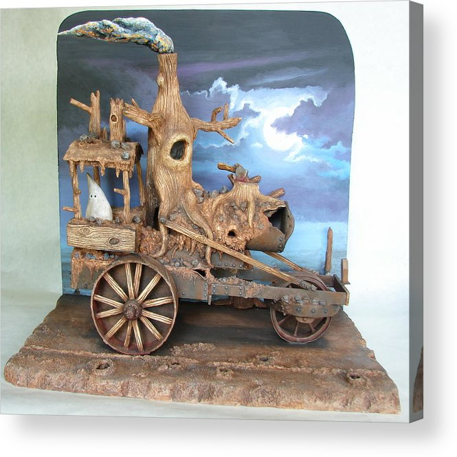 Ghost Acrylic Print featuring the sculpture Ghost Tractor by Stuart Swartz