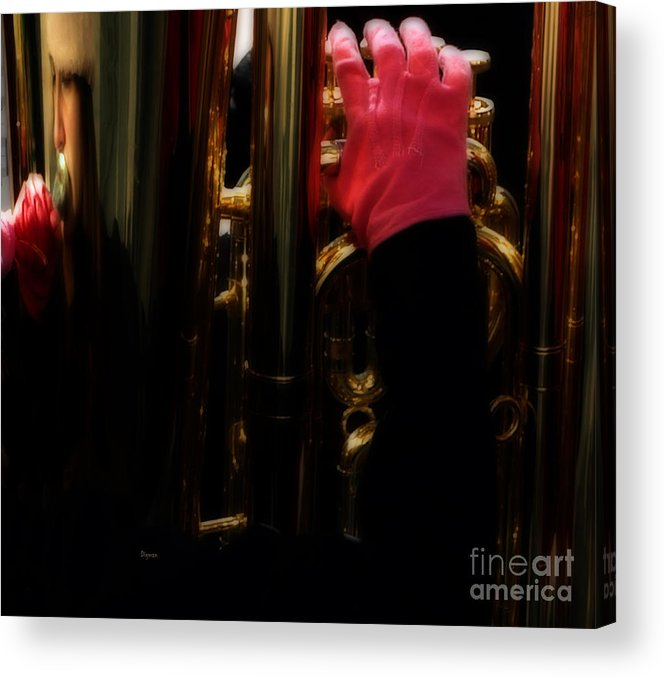 Tuba Acrylic Print featuring the photograph Tuba With Pink by Steven Digman