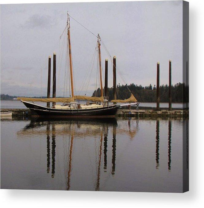 Boat; Boating; Water; Bay; Reflections; Reflection; Sailboats; Sailing; Boat Reflection; Bay; Washington; Seattle Acrylic Print featuring the photograph Waiting To Sail by Feva Fotos