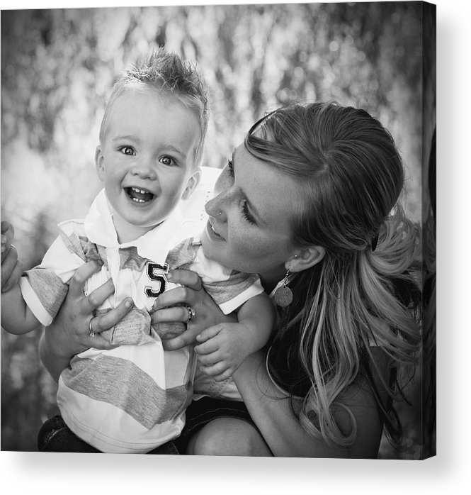 25-30 Years Acrylic Print featuring the photograph Mother And Son Laughing Together by Daniel Sicolo