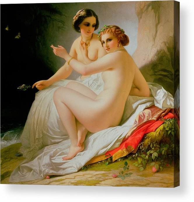 Nude Acrylic Print featuring the painting The Bathers by Louis Hersent