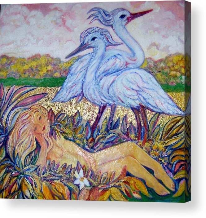 Weisse Reclining Nude With Cranes In Mixed Media Framed Canvas Acrylic Print featuring the painting Splendor In The Grass 2 by Gunter Hortz