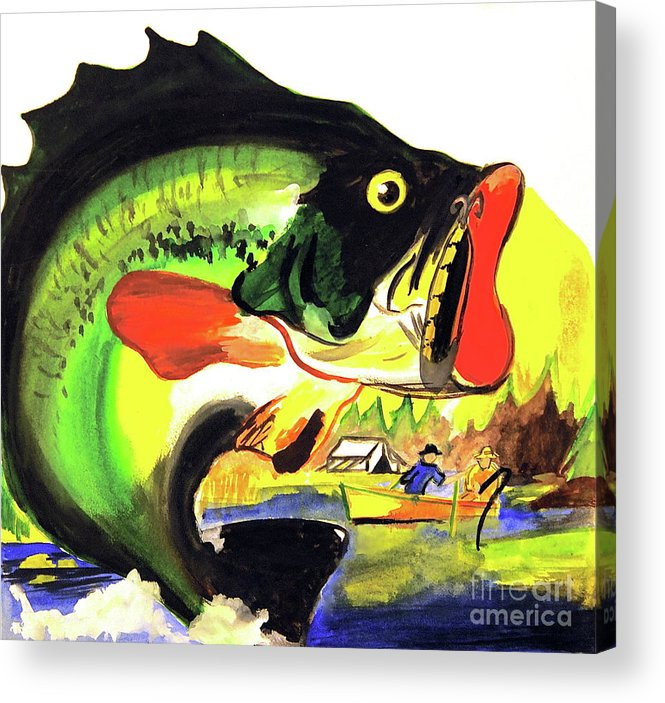 <a Href=https://twitter.com/lindalsimon Class=twitter-follow-button Data-button=grey Data-text-color=#ffffff Data-link-color=#00aeff>follow @lindalsimon</a> Fish Acrylic Print featuring the painting Gone Fishing by Linda Simon