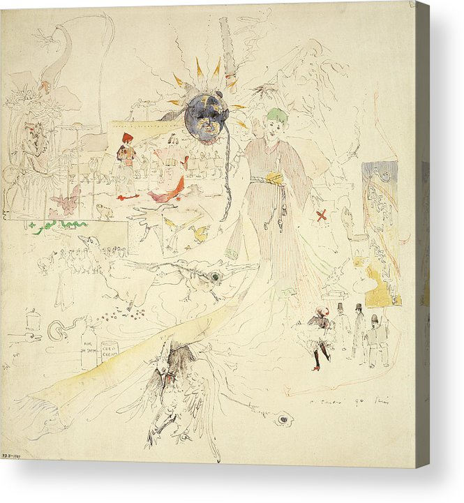 Dreams Acrylic Print featuring the drawing A Dream In Absinthe, 1890 by Charles Edward Conder