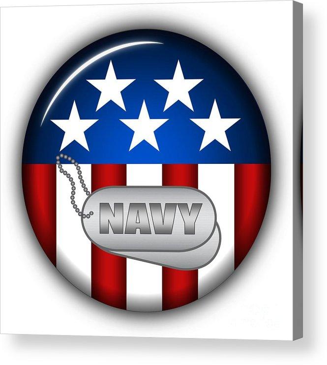 Navy Acrylic Print featuring the digital art Cool Navy Insignia by Pamela Johnson