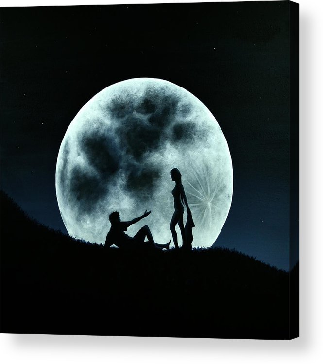 Eros Acrylic Print featuring the painting Eros Under A Full Moon Rising by Ric Nagualero