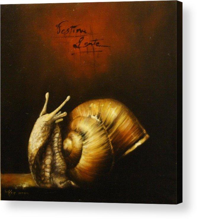 Fantasy Acrylic Print featuring the painting Festina Lente by Simone Galimberti