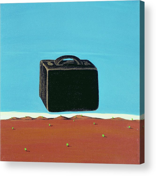 Suitcase Acrylic Print featuring the painting The Trip, 1999 by Marjorie Weiss