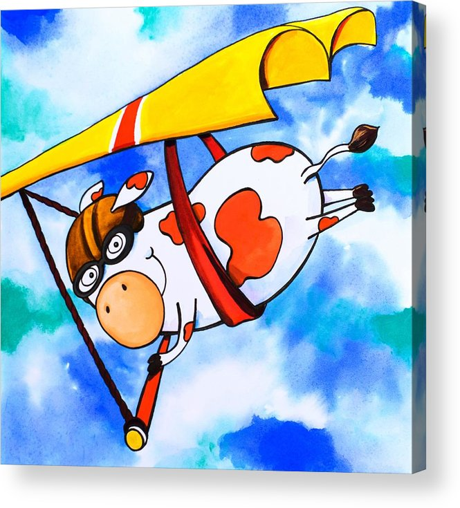 Scott Nelson Acrylic Print featuring the painting Hang Glider Cow by Scott Nelson