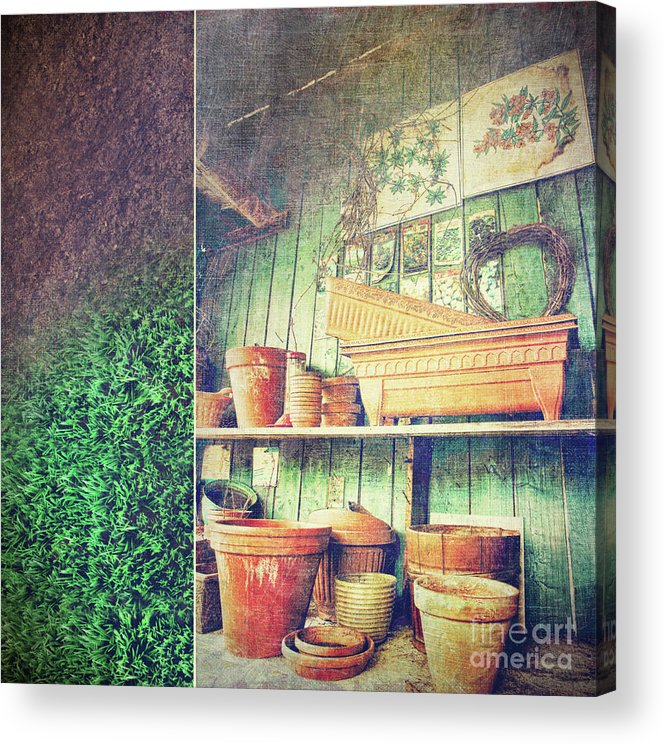 Basket Acrylic Print featuring the photograph Lots Of Different Size Pots In The Shed by Sandra Cunningham