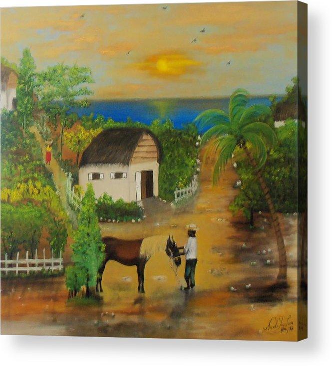 Nicole Jean-louis Acrylic Print featuring the painting End Of The Day by Nicole Jean-Louis