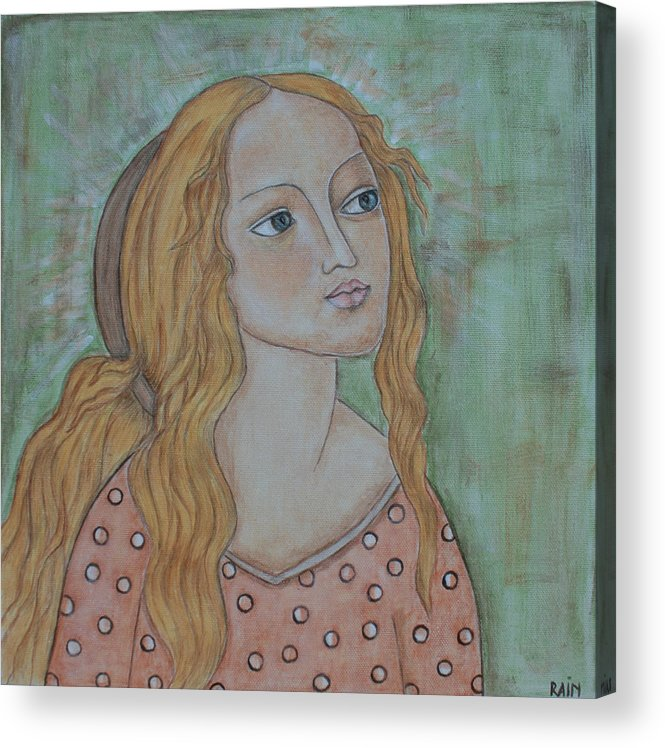 Paintings Acrylic Print featuring the painting Waiting by Rain Ririn