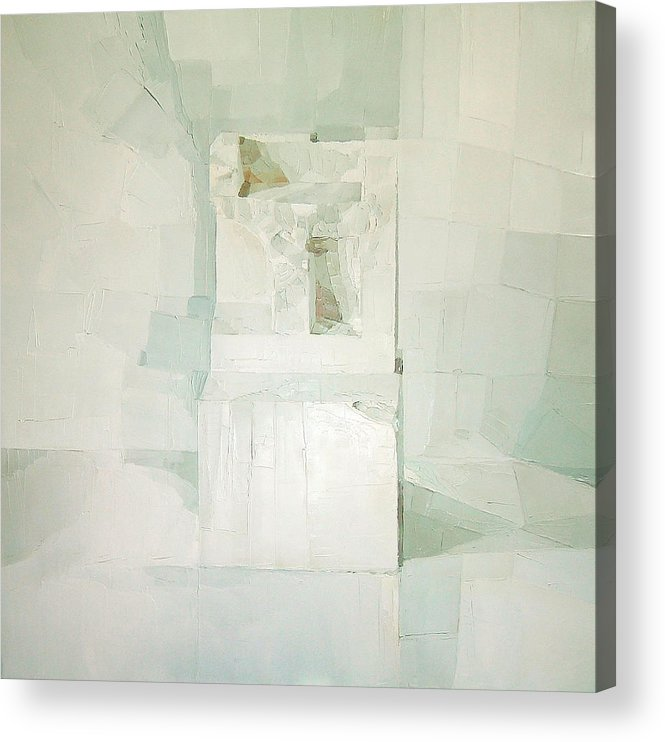 White (oil On Canvas) Cube; Geometric; Abstract; Form; Shape; Pure; Relief; 3-d; Three-dimensional; Painting; Solitude; 3 D; Three Dimensional; Abstraction; Mathematics; Damaged; Chair; Stone; Square Acrylic Print featuring the painting White by Daniel Cacouault