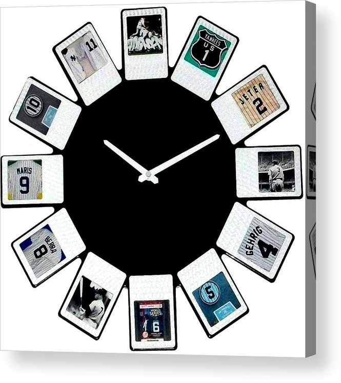 New York Acrylic Print featuring the sculpture yankees Clock by Paul Van Scott