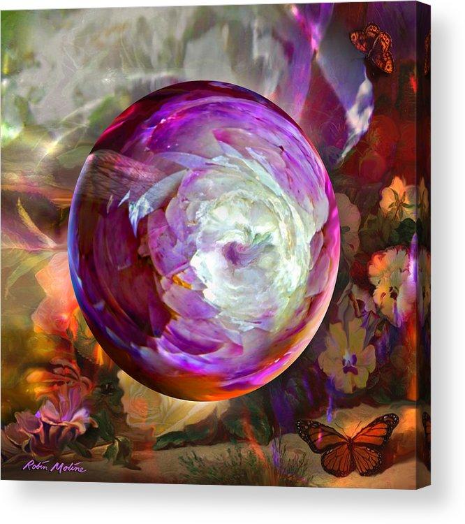 Butterflies Acrylic Print featuring the digital art Butterfly Garden Globe by Robin Moline