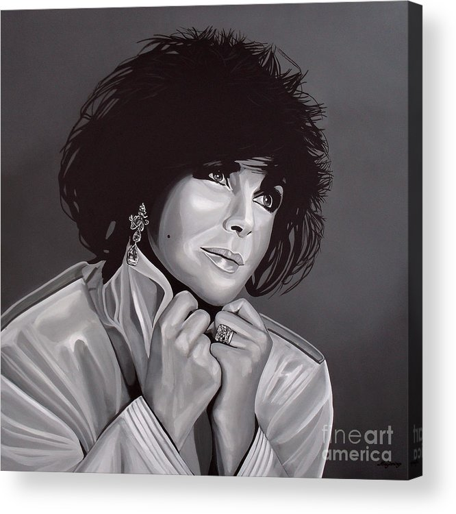 Elizabeth Taylor Acrylic Print featuring the painting Elizabeth Taylor by Paul Meijering