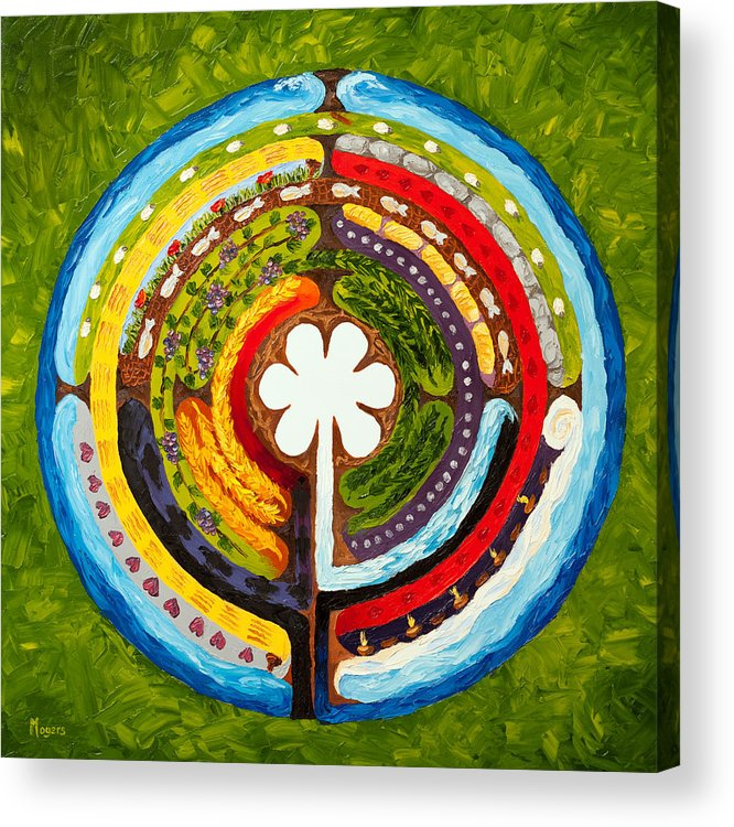Mike Acrylic Print featuring the painting Lenten Labyrinth by Mike Moyers