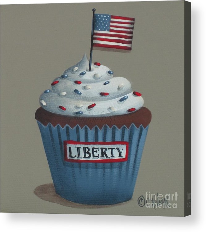 Art Acrylic Print featuring the painting Liberty Cupcake by Catherine Holman