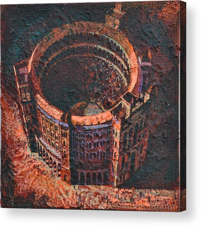 Arena Acrylic Print featuring the painting Red Arena by Mark Howard Jones