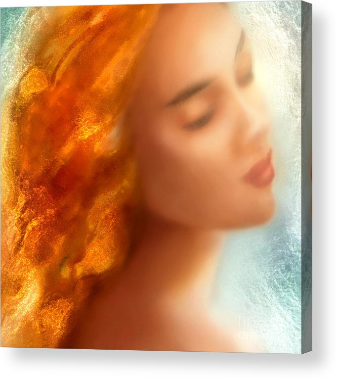 Mermaid Acrylic Print featuring the painting Sea Nymph Dream by Michael Rock
