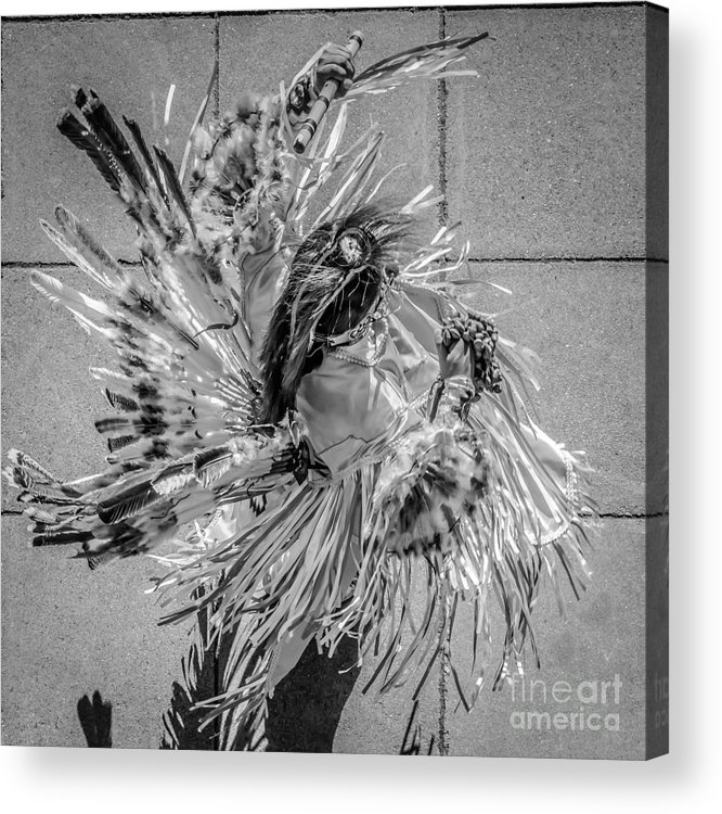 Aerial Acrylic Print featuring the photograph Street Shadow Dancer 1 - Black And White - Square Crop by Ian Monk