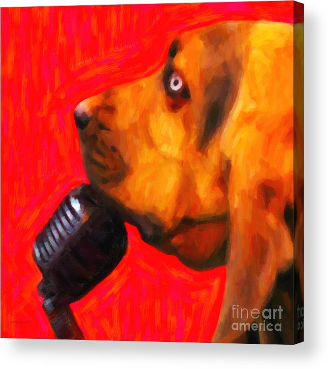 Animal Acrylic Print featuring the photograph You Ain't Nothing But A Hound Dog - Red - Painterly by Wingsdomain Art and Photography