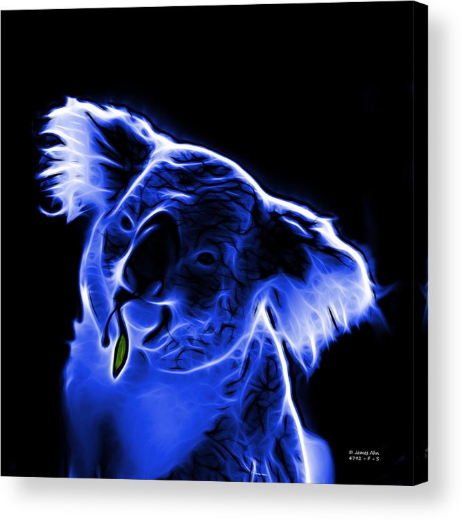 Koala Acrylic Print featuring the digital art Koala Pop Art - Blue by James Ahn