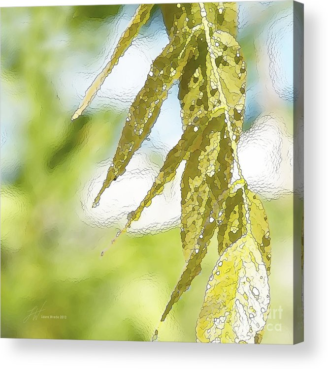 Wisteria Leaves Acrylic Print featuring the painting Leaves Touching Water by Artist and Photographer Laura Wrede